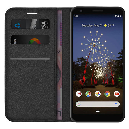 Leather Wallet Case & Card Slot Pouch for Google Pixel 3a XL - Black